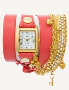 La Mer Collections Coral Gold Tokyo Crystal Chain Wrap Watch   www.myLusciousLife.com