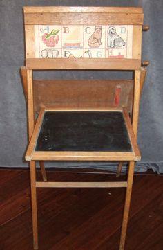 Child's Scrolling Blackboard Easel Needlework cross stitch alphabet vintage