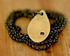 Teardrop Brass Necklace with custom initial by monkeysalwayslook monkeys always look