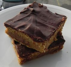 Chocolate Chip Cookie Bars - I must find a way to make these healthier because they look delicious!