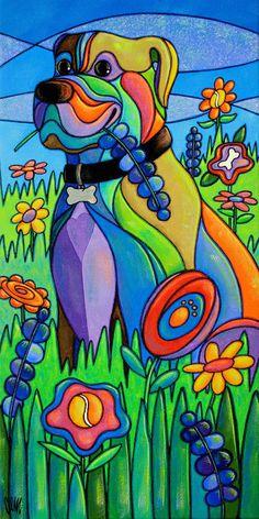 Dog Art Print - Reproduction of the Original Painting. Arte Pop, Tiffany Kunst, Cubism Art, Colorful Paintings, Learn To Paint, Animal Paintings, Dog Art, Bunt, Art For Kids