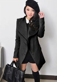 Womens Black Woolen Leatherette Lapel Zip Sleeve Trench Coat ...