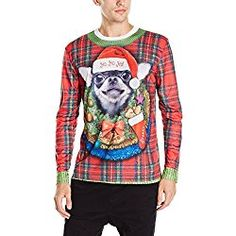 112914679a2 Faux Real Men s Xmas Big Dog Long Sleeve Shirt  A photo realistic design  that will make you look twice