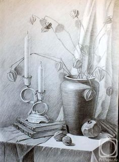 Pencil Drawings Of Nature, Landscape Pencil Drawings, Ink Pen Drawings, Nature Drawing, Graphite Drawings, Colorful Drawings, Still Life Drawing, Still Life Art, Perspective Drawing Lessons