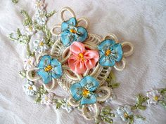 Antique Vintage ribbon work french pink blue metallic flowers applique rose rose