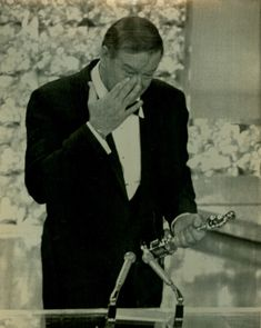 John Wayne, tearing up after he won an Oscar award. He truly was a humble, genuine, actor who EARNED the award. Not like now a days. I'm honestly not old either.  I see the difference in the so called acting of today. Anyone can sing or act if you know somebody.