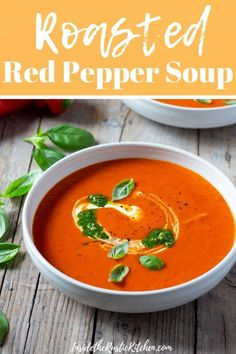 The easiest Roasted Red Pepper Soup. It's delicious, thick and creamy made with roasted red peppers , sun dried tomatoes and topped with a pesto and creme fraiche swirl. A cozy and comforting soup for chilly nights. Italian Dinner Recipes, Italian Soup, Roasted Red Pepper Soup, Roasted Red Peppers, Stuffed Pepper Soup, Stuffed Peppers, Soup Recipes, Cooking Recipes, Pepper Recipes