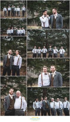 Springfield Ohio rustic winter wedding outdoor portraits in woods groom + groomsmen with bowties and suspenders | Amanda Noel Photography