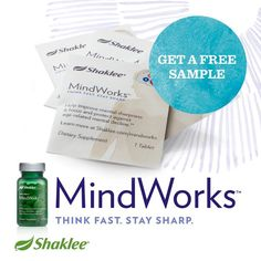 Free Sample of Shaklee's NEW MindWorks! Think fast, stay sharp! Proven to improve cognitive abilities (memory, focus, etc) by 3x!! www.healthyfitgreen.myshaklee.com