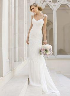Wedding Dresses - $166.64 - Sheath/Column V-neck Court Train Chiffon Wedding Dress With Lace (0025093144)