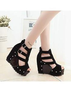 XRU Womens black platform wedges high heels with studs zipper jockstrap strappy open toe nubuck sandals Black More Choices from $25.60