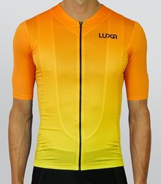 Orange Sunrise cycling jersey from the Sunrise collection inspired by the warm colors of the rising sun. Recommended in pair with black shorts.