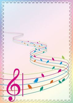 By Artist Unknown. Music Notes Art, Art Music, Music Border, Music Notes Decorations, Photo Frames For Kids, Music Journal, Free Printable Stationery, Music Lessons For Kids, Abstract Painting Techniques