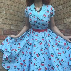 """wearing our Blindside Cherry Dress. """"Soon as I put it on (and added a red ribbon around my waist) I knew it was a match made in heaven""""      Cherry Dress, Amber Rose, Made In Heaven, Match Making, Red Ribbon, Cherries, Pin Up, Street Wear, Short Sleeve Dresses"""