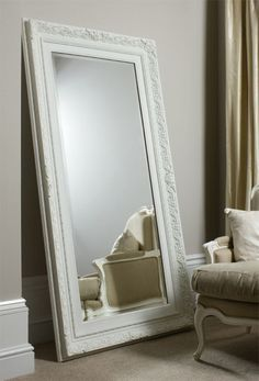 Charming Large Floor Mirror Painted In Gloss White! F9831 400×589 Pixels