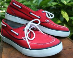 "RALPH LAUREN POLO Red Canvas ""Lander"" Tennis Boat shoe Sneaker Mens US 9  #PoloRalphLauren #BoatShoes"
