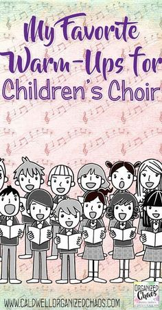 My Favorite Warm-Ups for Children's Choir. Great ideas for choral warm-ups that work for beginning choir with young students. Fun and easy ways to get students engaged and working on specific choral concepts and skills without taking too Vocal Lessons, Music Lessons For Kids, Music Lesson Plans, Singing Lessons, Music For Kids, Singing Tips, Preschool Music, Music Activities, Teaching Music