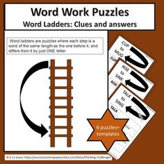 #ThinkingChallenges  Are you looking for a fun activity for your word work/ literacy center to independently challenge older students? Ladder words are puzzles where each step is a word of the same length as the one before it and differs from it by just ONE letter. A challenging way to look at opposites.WHAT YOU GET:Instructions.Teacher Classroom Activities, Activities For Kids, Word Ladders, Critical Thinking Activities, Letter Mugs, Higher Order Thinking, Thematic Units, Upper Elementary, Word Work
