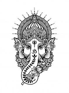 Mandala Art, Ganesha Tattoo Mandala, Mandala Drawing, Mandala Design, Arte Ganesha, Elephant Tattoo Design, Elephant Tattoos, Chest Tattoo Abstract, Lord Ganesha Paintings