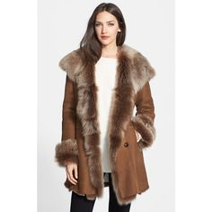 HIDESOCIETY Genuine Shearling Coat (36 870 UAH) ❤ liked on Polyvore featuring outerwear, coats, tobacco, brown coat, brown shearling coat and shearling coat