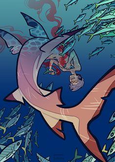 Rabid shark mermaid, Vivian by oxboxer.deviantart.com on @deviantART