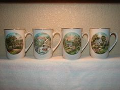 1978, CURRIER & IVES, Four Seasons Cups, Porcelain, Transferware, Spring, Summer, Autumn, Winter, Gold on Rims and Handles, Coffee Cup, Mugs by BackStageVintageShop on Etsy