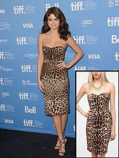 SELENA GÓMEZ    Selena Gómez lució de lo más chic con este vestido Dolce & Gabbana con estampado de leopardo. Te adelantamos que los estampados felinos estarán muy de moda para la primavera. Así que ponte en boga con este modelito de Urban Outfitters, que ahora está en rebaja, por $37.99.