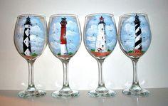 """""""Brighten up"""" happy house: Custom Handpainted Wine Glasses by SharonsCustomArtwork on Etsy, $100.00."""