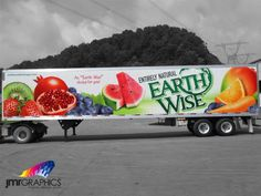Earth Wise trailer wrap by JMR Graphics Vehicle Signage, Truck Stickers, Truck Art, Natural Earth, Commercial Vehicle, Car Wrap, Homemade Dog, Semi Trucks, Sticker Design