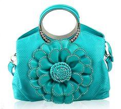 Handbag for Women's Purse Turquoise Tote for Women Floral Aqua Blue Purses