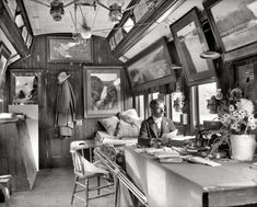 """""""Detroit Photographic Co. Special (William Henry Jackson seated at table in Delaware, Lackawanna & Western Railroad car)."""" Jackson wrote an autobiography called, """"Time Exposure,"""" which he began in his tenth decade and completed in 1940, two years before his death at age 99."""
