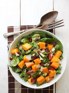 autumn roasted butternut squash salad with balsamic vinaigrette