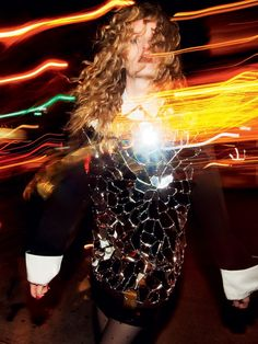 Daria Strokous shines in a metallic look for Harper's Bazaar Russia magazine February 2016 issue