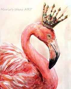 Flamingo art, Pink Flamingo wall art, Bird print, Bird wall art, Bird with Crown, nursery wall art by MariasIdeasArt on Etsy https://www.etsy.com/listing/249262324/flamingo-art-pink-flamingo-wall-art-bird