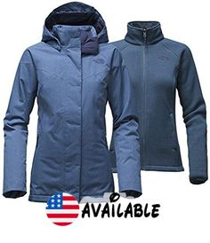 B017SCAOPI : The North Face Kalispell Triclimate Jacket Women's Shady Blue Heather Large. 3-in-1 jacket pairs a waterproof shell with a warm sweater-fleece liner. Both jackets are zip-in-compatible with complementing garments from The North Face. Relaxed fit. Waterproof breathable seam-sealed HyVentTM 2L shell with insulation. Fully adjustable removable hood #Sports #OUTDOOR_RECREATION_PRODUCT