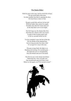 The Rodeo Rider Sample poem from Poems and Tales of the Old West By Robin 'Cody' Sanderson Illustrations by Sam Backhouse  http://www.lulu.com/shop/robin-sanderson/poems-and-tales-of-the-old-west/paperback/product-22353725.html