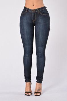 Classic Mid Rise Skinny Jeans - Dark Blue