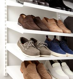Our Angled Solid Metal Shelf offers the perfect solution for shoe storage!