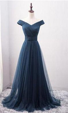 A-line Prom Dress, Long Prom Dress,Tulle Prom Dress, Princess Prom Dress on Luulla Prom Dress Black, Navy Blue Prom Dresses, Princess Prom Dresses, Pretty Prom Dresses, Blue Evening Dresses, V Neck Prom Dresses, Tulle Prom Dress, Homecoming Dresses, Dress Long