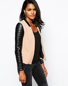River Island Cropped Jacket With Biker Sleeve