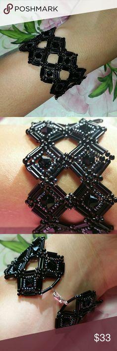 Spotted while shopping on Poshmark: A black and gray handmade bugle beaded bracelet.! #poshmark #fashion #shopping #style #Jewelry