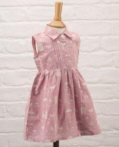 Stunning lightweight collared dress with a fun beach print theme by Pigeon. 100% organic cotton.