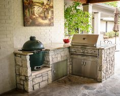 Backyard Grill Area Big Green Eggs 54 Ideas For 2019 Outdoor Kitchen Patio, Outdoor Kitchen Countertops, Outdoor Kitchen Design, Outdoor Rooms, Outdoor Living, Outdoor Kitchens, Big Green Egg Outdoor Kitchen, Kitchen Counters, Green Kitchen