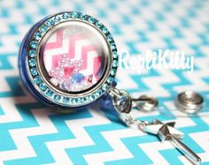 Custom ID Badge Locket for Floating Charms - No Lanyard or Chain necessary! Hooks on Clothes! Great for Nurses and as a Custom Gift!
