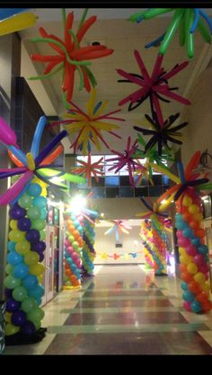 We used lots of fun colors with these balloons to create a great impact. Ballon Decorations, Dance Decorations, Balloon Centerpieces, Balloon Tower, Balloon Backdrop, Balloon Garland, Balloon Ceiling, Balloon Columns, Hanging Balloons