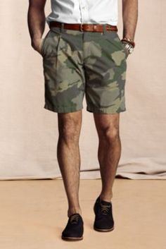 Men's Pleated Camo Shorts from Lands' End Canvas.