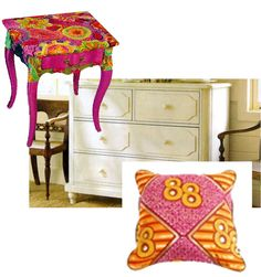 Bold African fabrics combine with traditional European style furniture -- awesome.