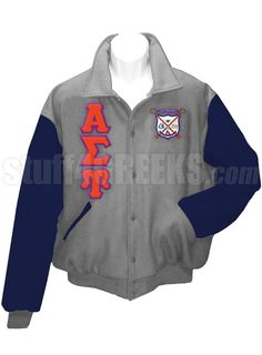 Light gray Alpha Sigma Upsilon Letterman Varsity Jacket with navy blue sleeves, the Greek letters down the right, and the crest on the left breast.