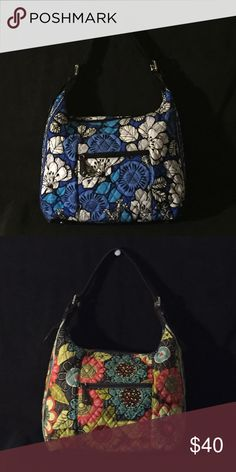 """Vera Bradley Elit Hobo Elit Hobo  in retired patterns Blue Bayou and Shower Flower are gently used and in excellent condition. Outside has a zippered compartment. Inside has 3 slip pockets and a zippered compartment. Bottom of bag is faux leather with silver feet. Dimensions are about 14"""" x 12"""" x 4"""". With a 10.5"""" handle drop. Vera Bradley Bags Hobos"""