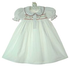 NEW White Hand Smocked Gown with Red Heart Embroidery $65.00